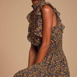 LULUS Floral Ruffle Midi Dress